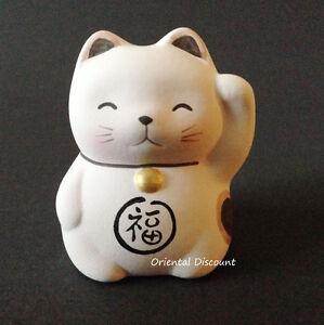 "Japanese 2"" Pink Maneki Neko Lucky Cat Earthenware LOVE Success Made In Japan"