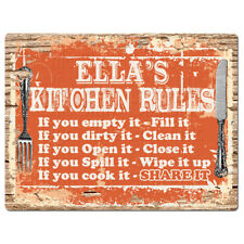 PPKR0210 ELLA'S KITCHEN RULES Plate Chic Sign Home Kitchen Decor Gift ideas