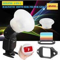 Selens 4in1 Magnetic Speedlite Flash Modifier Sphere Diffuser Filter Gel New
