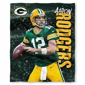 """Green Bay Packers Aaron Rodgers 50"""" x 60"""" Silk Touch Throw Blanket"""