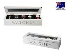 Watches Jewellery Wooden Storage Box White w Glass Lid 5 Compartment Watch Case