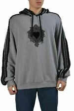 Dolce & Gabbana Gray Embellished Men's Hooded Sweater US 4XL IT 60