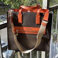 Michael Kors Women Large Leather Shoulder bag Handbag Tote Crossbody Tangerine