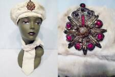 Vintage 50s 60s Faux Fur Hat Off White BERET Matching Neck Scarf Costume Brooch