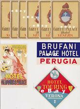 9 Vintage Luggage Labels Stickers from Europe: Venice, Peruggia, Verona, Granada