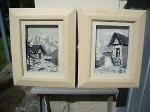 2 anciens tableaux bois sculpté et peint montagne chalet enneigé signé C. HAUFER