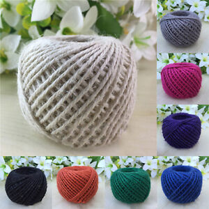 50M Natural Linen Cord Twisted Burlap Jute Twine Rope String Craft Decoration