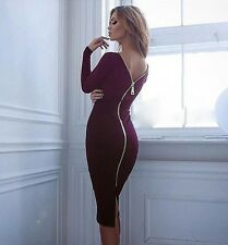Women Sexy Bandage Bodycon Backless Club Dress Zipper Long Sleeve Tight Fitted