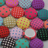 10/50/100pc  13 mm round polka-dot printing fabric covered button jewelry CT01