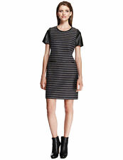 MARKS AND SPENCER AUTOGRAPH STRIPED WOOL BLEND FAUX LEATHER TRIM DRESS 10 BNWT