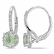Amour Sterling Silver Green Amethyst and Diamond Earrings