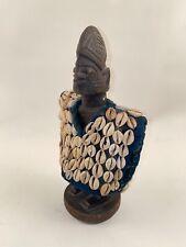 Vintage Yoruba Ibeji Figure Cowry Shell Vest Nigerian African Art Statue Antqie