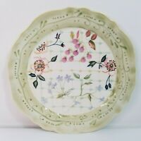 "TRACY PORTER The Evelyn Collection 9"" Round Luncheon Plate Fruit Flowers Lattice"