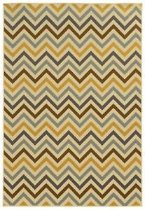 """2'x4' Sphinx Geometric Ivory Chevron Stripes 4593A Door Mat - Aprx 2' 5"""" x 4' 5"""""""