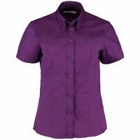 Ladies New Purple Work office Shirt Short Sleeve shirt Kustom Kit KK701