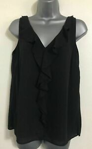 NEW ex WALLIS Black Ruffle Lined Chiffon Layered Vest Blouse Top 8-18