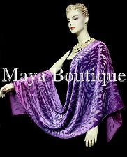 Maya Matazaro Hand Dyed Purple Mulberry Camellia Shawl Wrap Scarf Burnout Velvet