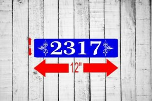 """Personalized Home Address Sign Aluminum 3"""" x 12"""" Custom House Number Plaque sq45"""