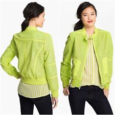 Faux Suede KENNETH COLE Zip Up Bomber Jacket Size S Small Bright Yellow