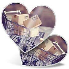 2 x cœur autocollants 7.5 cm-Online Shopping chariot drôle #21966