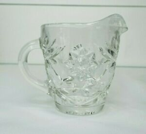 Vintage Creamer Clear Glass With Handle Cream Pitcher