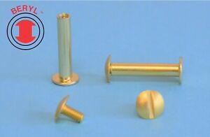 "Aluminum Brass Plated Post&Screw / Chicago Binder Screw&Post  #8-32X3/4"" 25sets"