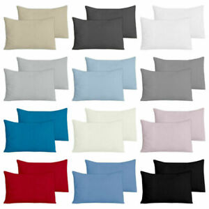 100% BRUSHED COTTON FLANNELETTE HOUSEWIFE PILLOW CASES PAIR CLEAREANCE SALE