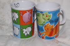 2 Mug Cup Tasse à café Pigs  Sheep Cows & Cats