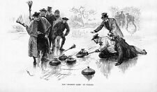 CURLING MATCH HISTORY ROCKS BROOM ICE ANTIQUE ENGRAVING ROARING GAME OF CURLING