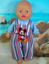 """Dolls clothes for 13"""" My Little Baby Born Doll~MICKEY MOUSE STRIPE OVERALLS~TOP"""