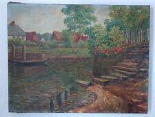 Ölbild Rödelheim Nidda Boot Anlegesteg  Paul Schubert