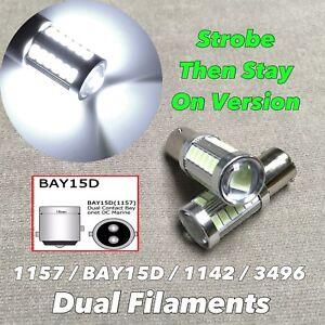 Strobe Stay on Brake Stop Light 1157 3496 7528 BAY15D White SMD LED Bulb W1 E