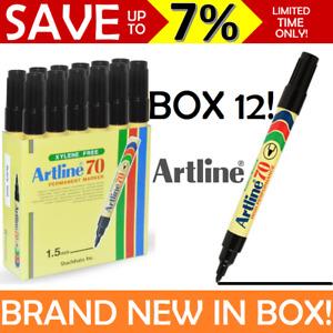 Artline 70 NEW IN BOX SEALED 12x Permanent Marker Black Bullet Tip 1.5mm BULK