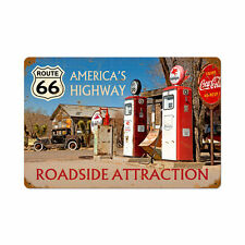 US Route 66 Roadside Attraction Tankstelle Retro Vintage Sign Blechschild Schild