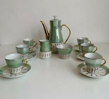 More details for vintage japanese tea set, 15 piece, green white and gold