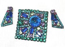 OUTRAGEOUS Juliana DeLizza & Elster Neon Art Deco Geometric Brooch & Earring Set