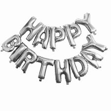 "16"" Self Inflating Happy Birthday Banner Foil Balloon Bunting Silver Letters USA"