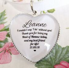 Maid Of Honour Thank You Best Friends Quote Bouquet Charm Personalised Gift