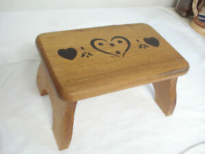 Solid Wood Stenciled Foot Rest Step Stool Doll Bench Child's Seat Folk Art