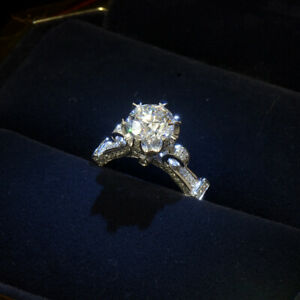 Crown Inlaid CZ Gems Real White Gold Filled Engagement Wedding Band Finger Ring