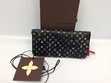 Auth Louis Vuitton Multi color Black Portefeuille Insolite Long Wallet 6C220090#