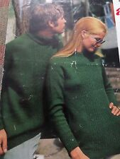 """Knitting Patterns Women Mens Jumpers Sweater DK and 4 Ply 34-44"""" Chest Vintage"""