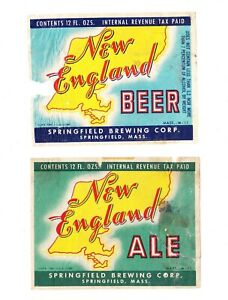 Two (2) 1940s IRTP NEW ENGLAND BEER & ALE beer labels from MASSACHUSETTS !!