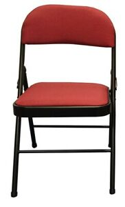 Steel Frame Folding Chair with Red Fabric Seat