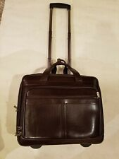Brown Leather  Briefcase Laptop Bag Business Travel Case Wheeled
