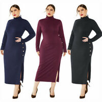 Lady Knitted Dress Bodycon Jumper Midi Turtleneck Long Sleeve Stretch S-5XL Slim