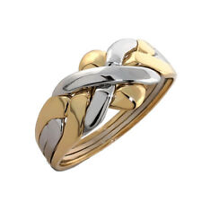 9k Yellow and White Gold 4 Band Turkish Puzzle Ring- FREE SHIPPING!