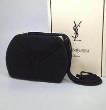YSL Authentic Y Black Vintage Corded Hard Case Shoulder Crossbody Bag + Box