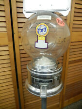 FORD 10 Cent GUMBALL MACHINE w/ KEY Stainless clear door cast iron base+ad stand
