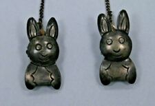 ANTIQUE***SILVER 950***BABY BIB CLIPS & CHAIN***CUTE BUNNY CLIPS***NEAT ITEM***